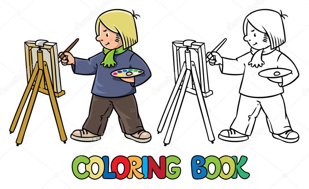 Divertido artista o pintor. Libro para colorear — Archivo Imágenes ...