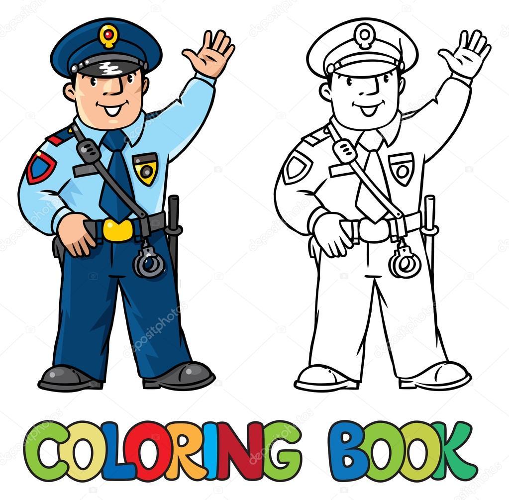Komik Polis Boyama Kitabı Stok Vektör Passengerz 108627216