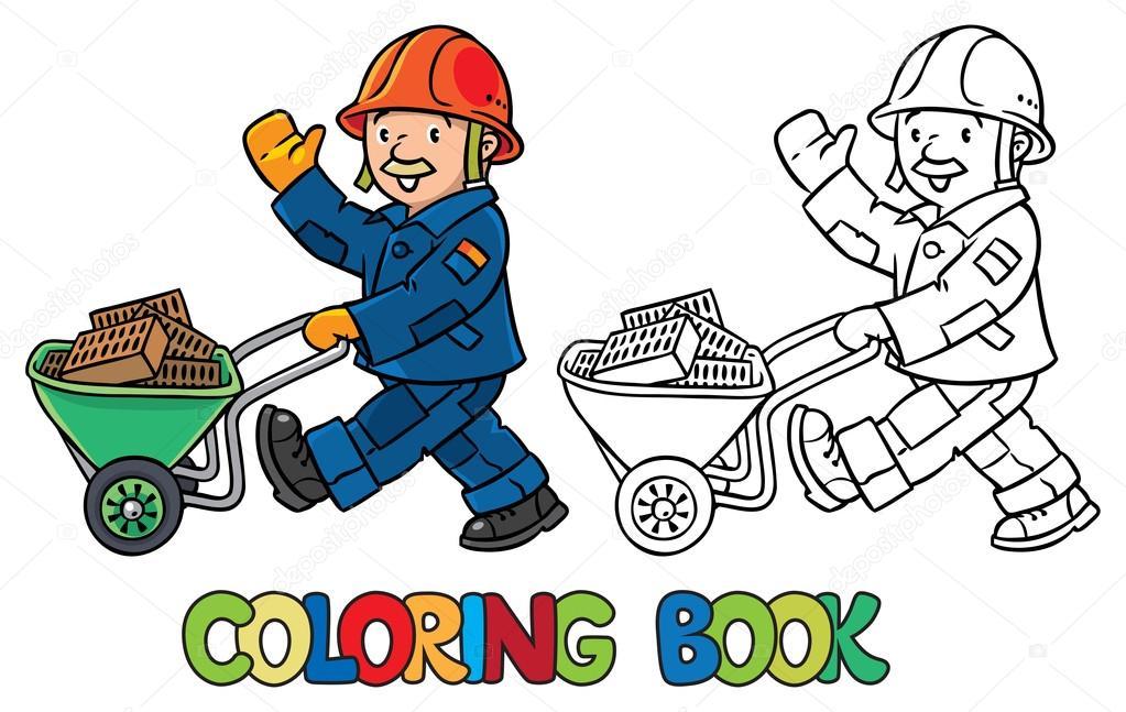 Libro de colorear del trabajador divertido con carro — Archivo ...