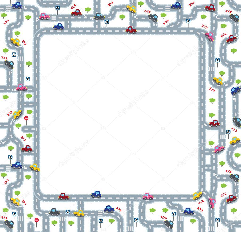 Lustige Rahmen oder Rahmen mit Straßen und Autos — Stockvektor ...