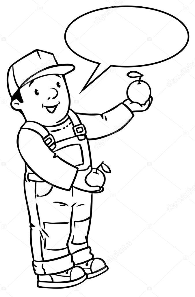 Funy granjero o jardinero con manzanas. Libro para colorear — Vector ...