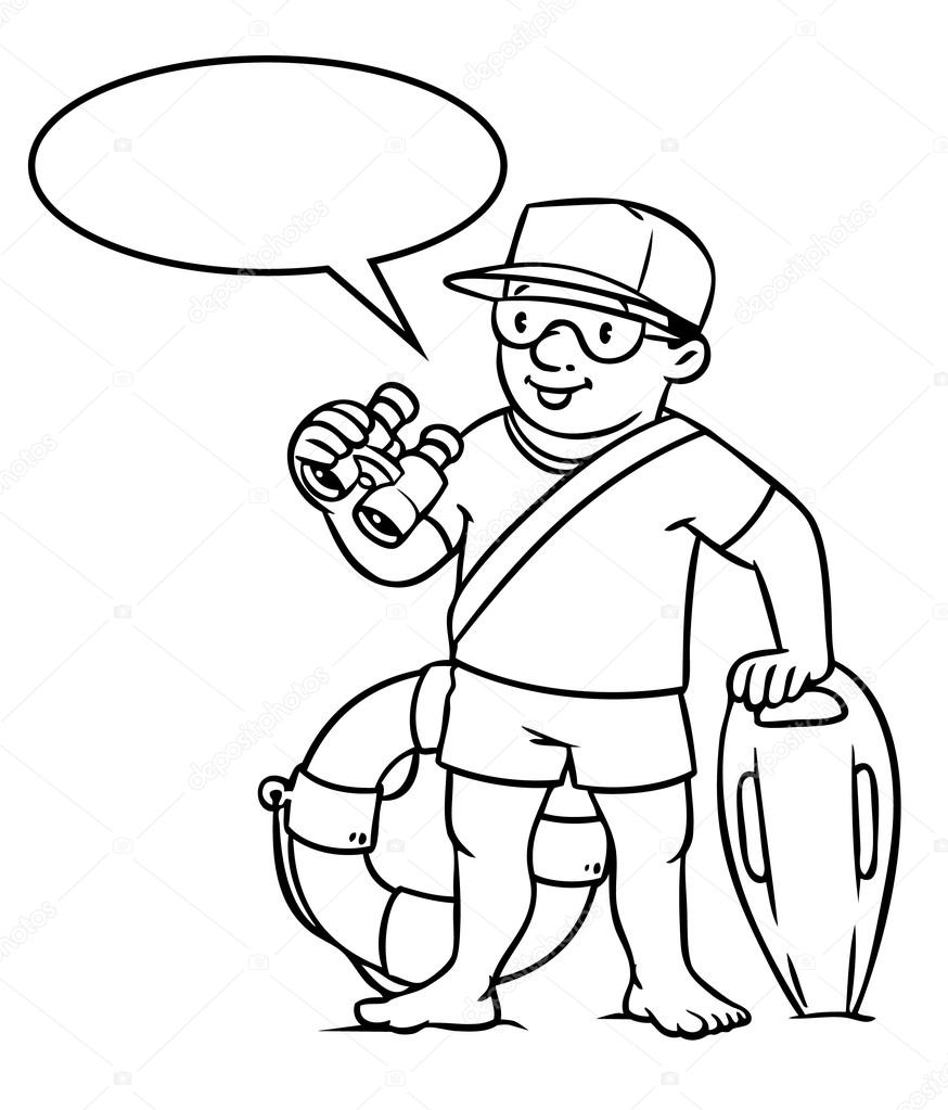 coloring picture or coloring book of lifegueard with equipment on the beach profession series children vector illustration with balloon for text