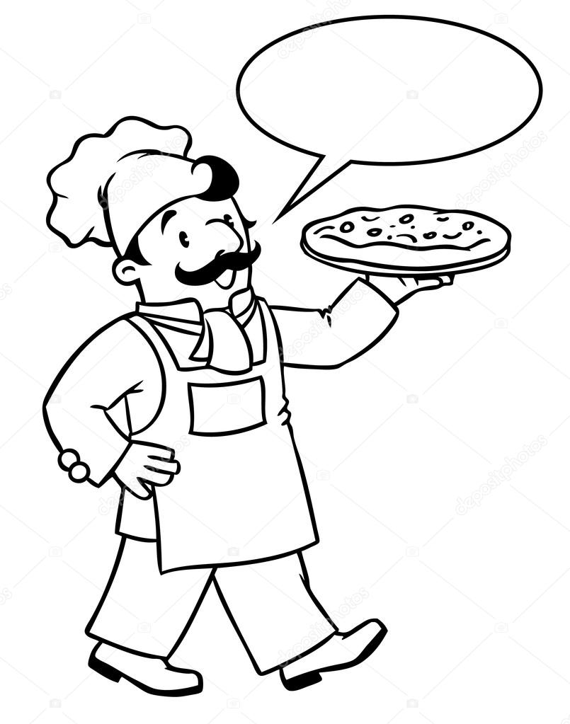 Libro de colorear de baker divertido o chef de pizza — Vector de ...