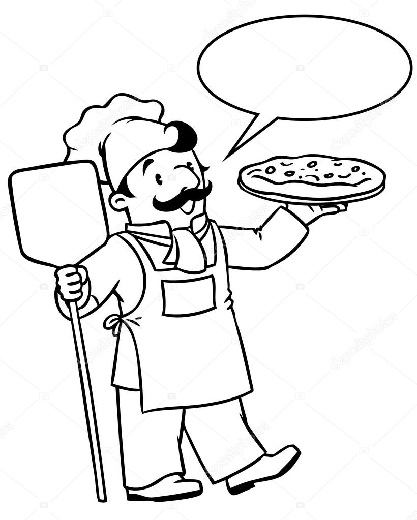 Coloring Book Of Funny Cook Or Chef With Pizza Stock Vector
