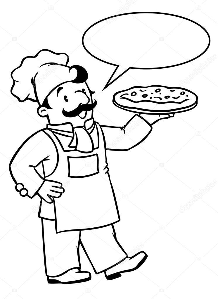Komik Aşçı Veya şef Pizza Ile Boyama Kitabı Stok Vektör