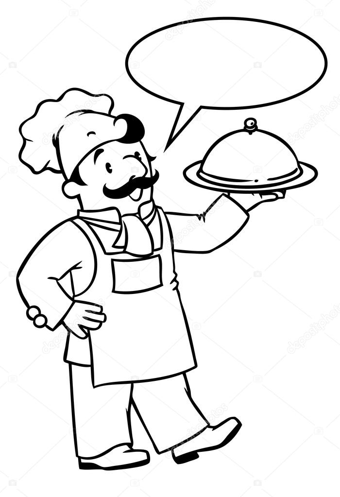 Funny Cook Or Chef With Tray Coloring Book Stock Vector