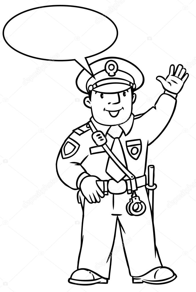 Policía divertido. Libro para colorear — Vector de stock ...
