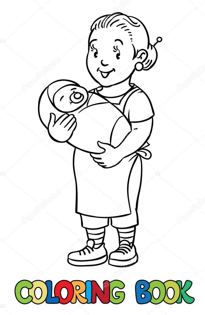 Divertida niñera con el bebé. Libro para colorear — Archivo Imágenes ...