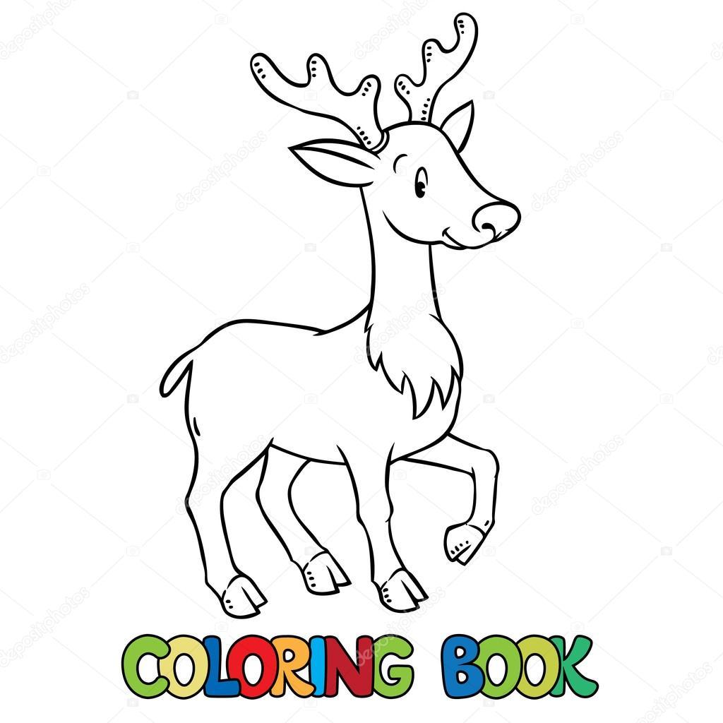 Boyama Kitabı Küçük Komik Genç Geyik Veya Açık Kahverengi Stok