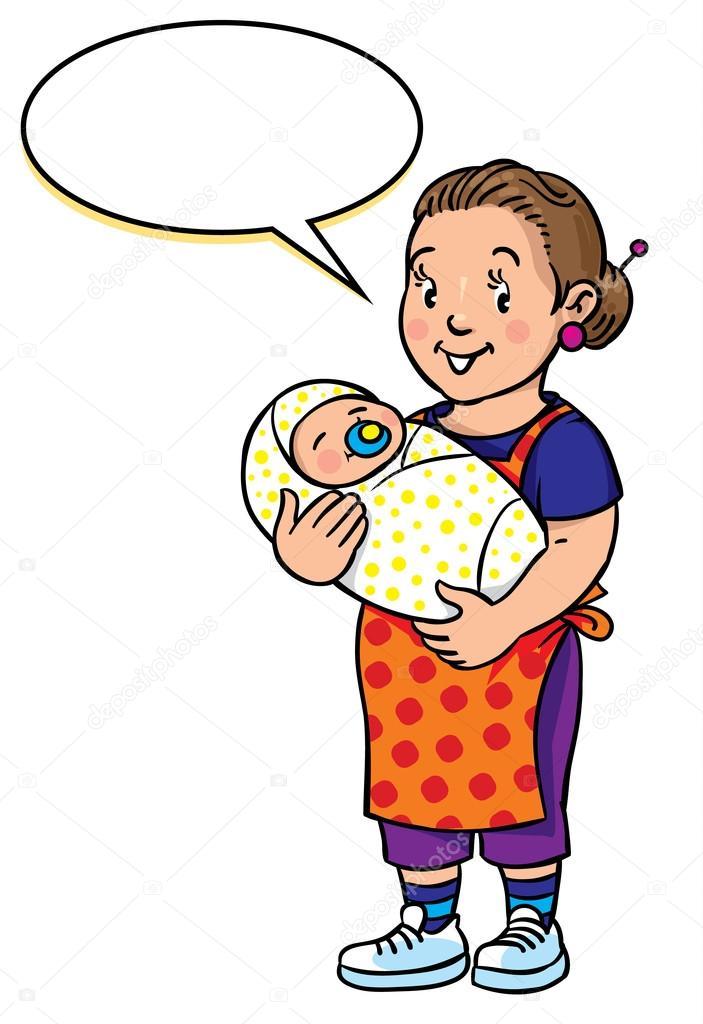 Divertida madre o niñera con el bebé — Vector de stock © passengerz ...