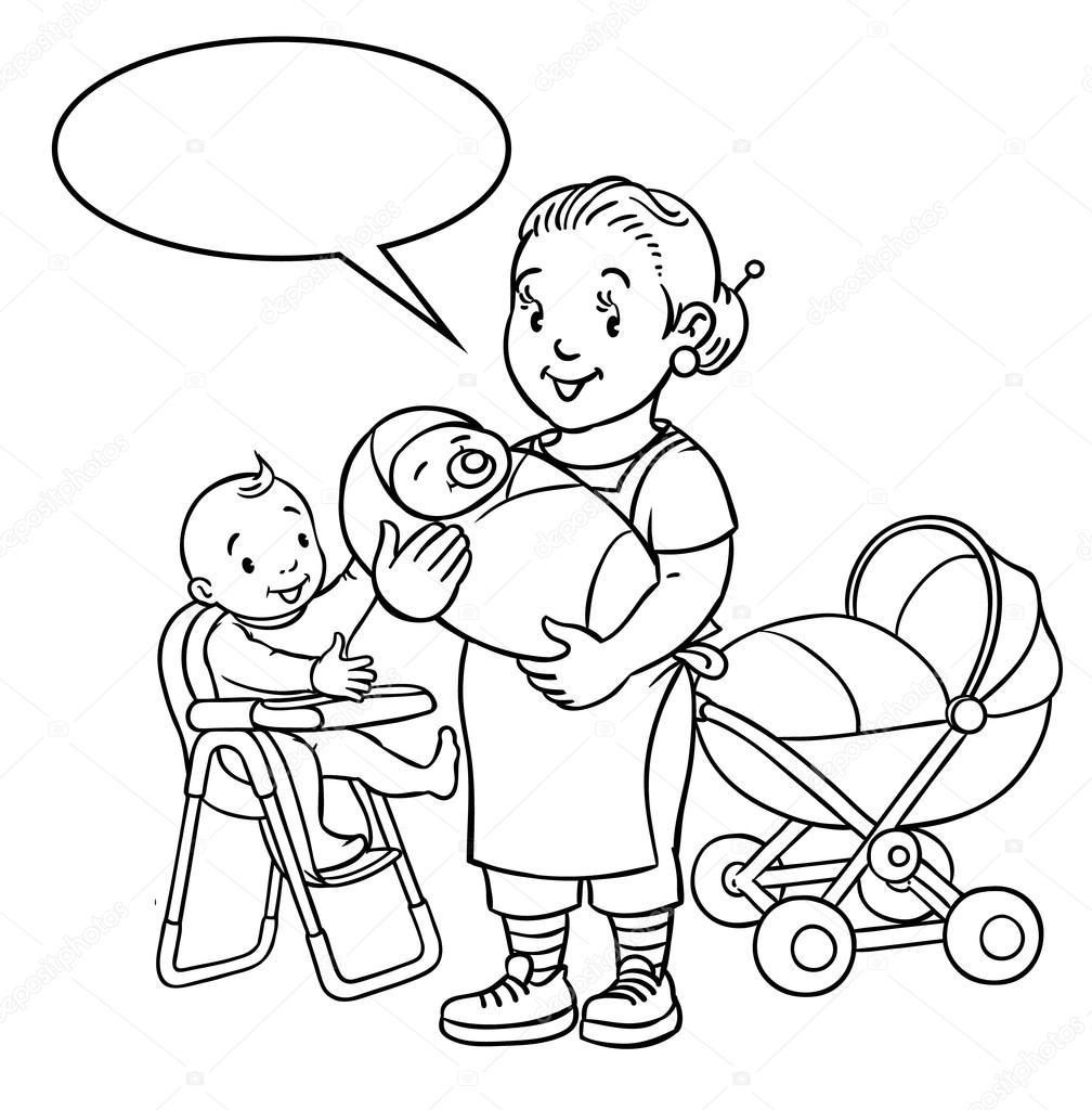 Komik Anne Ya Da çocuk Bakıcısıyla Boyama Kitabı Stok Vektör