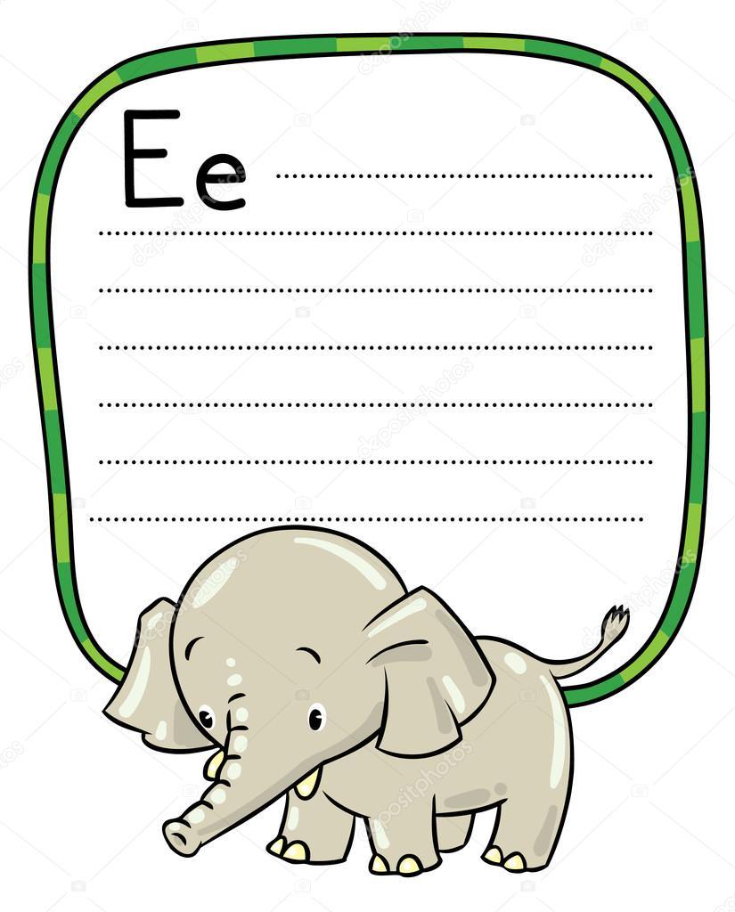 Poco divertido elefante o jumbo. Alfabeto E — Archivo Imágenes ...