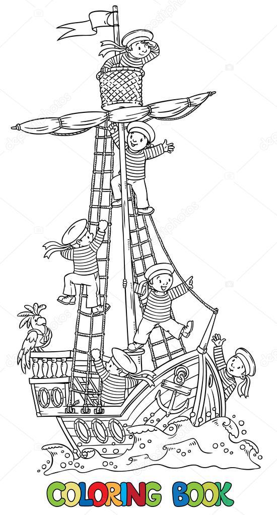 Libro para colorear con barco y marineros felices — Archivo Imágenes ...