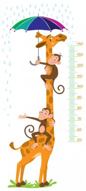 Cheerful funny giraffe and two monkeys with umbrella under the rain. Height meter or meterwall or wall sticker. Childrens vector illustration with scale from 50 to 140 centimeter. clip art vector
