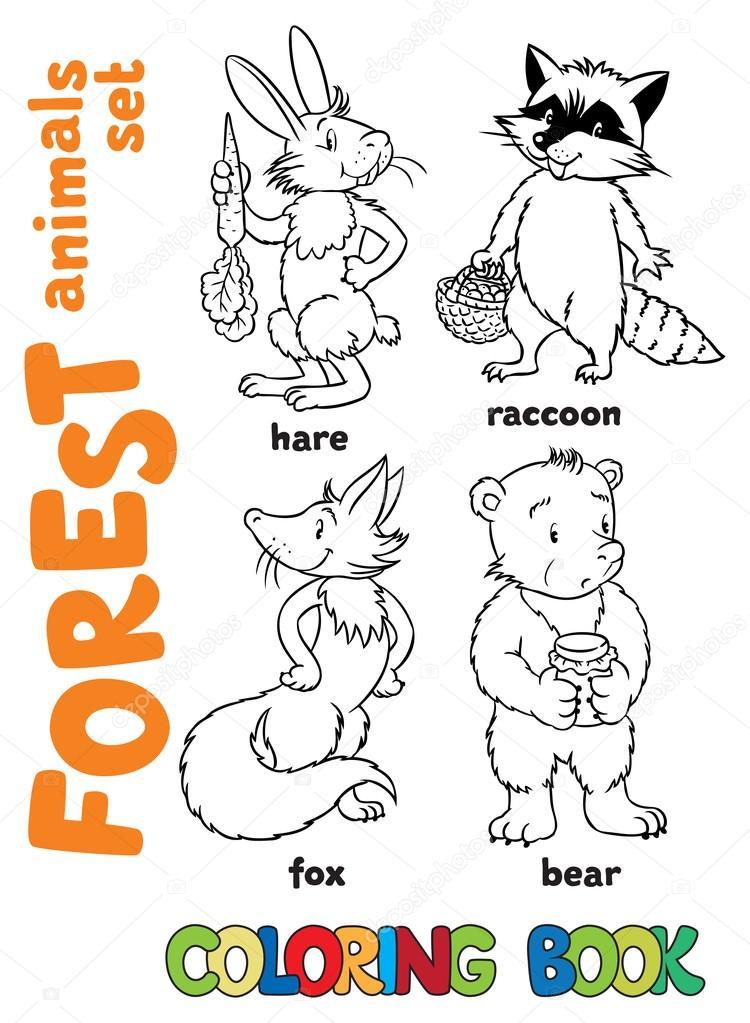 livro de colorir animais da floresta vetores de stock passengerz