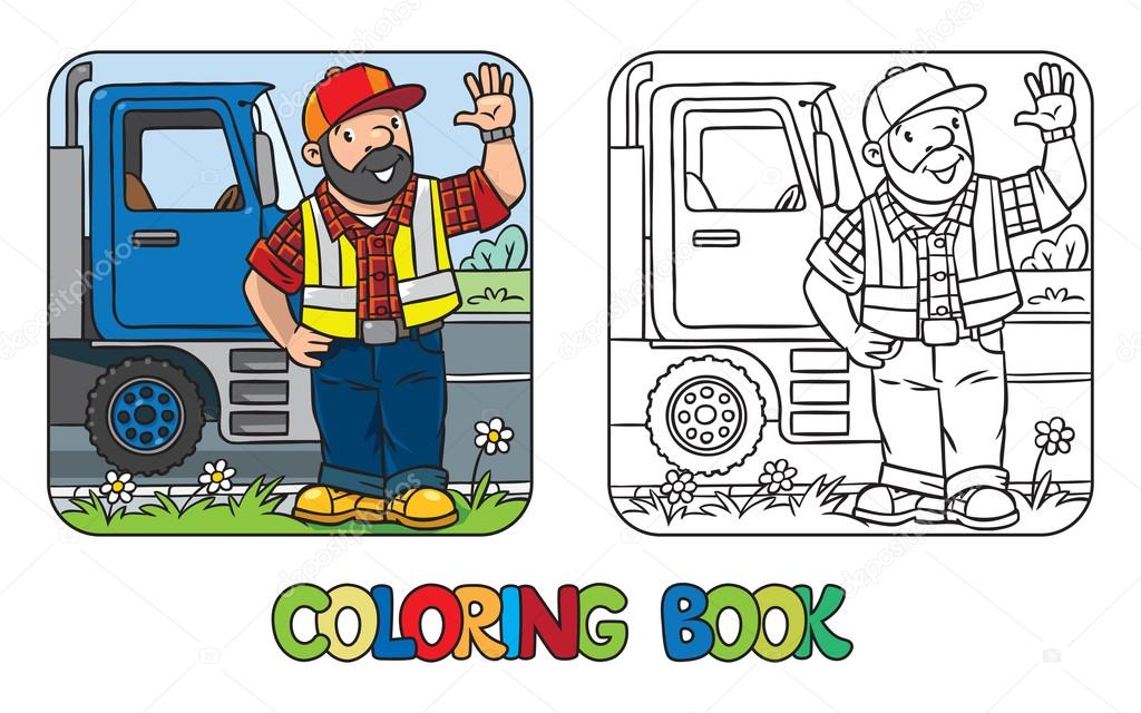 Libro de colorear de divertido o trabajador — Vector de stock ...