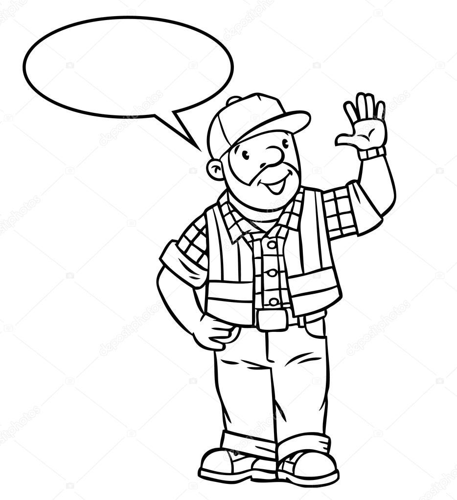 Divertido conductor o trabajador con globo de texto — Vector de ...