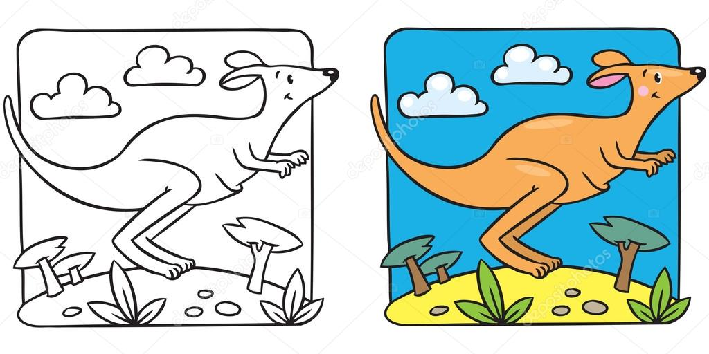 Coloring Picture Of Little Funny Jumping Kangaroo Running Through The Desert Vector By Passengerz