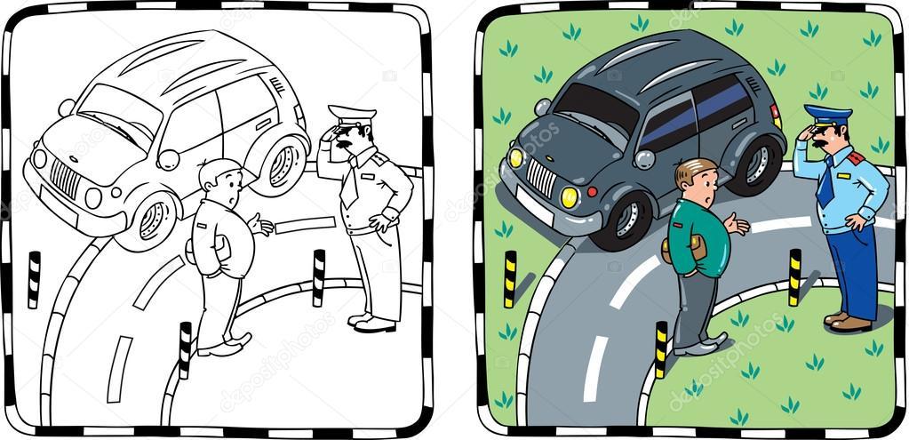 Polis Ve Arabası Sürücüsü Boyama Kitabı Stok Vektör Passengerz