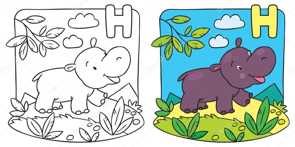 Librito para colorear hipopótamo. Alfabeto H — Archivo Imágenes ...