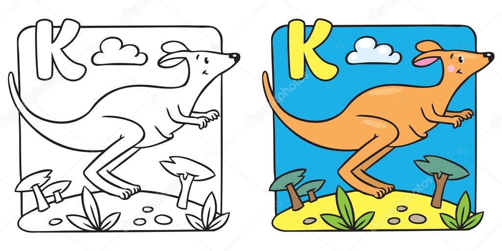Librito para colorear canguro. Alfabeto K — Vector de stock ...