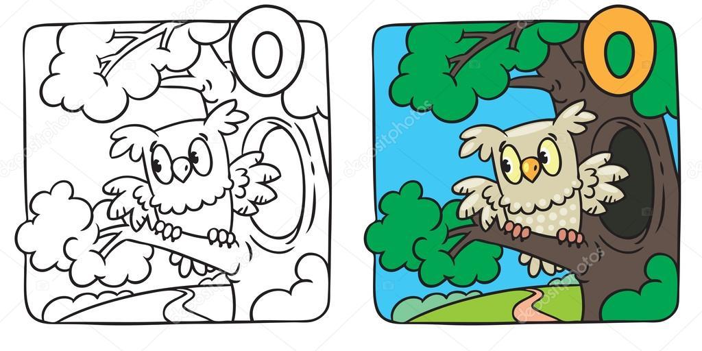 Libro de colorear de Mochuelo. Alfabeto O — Vector de stock ...