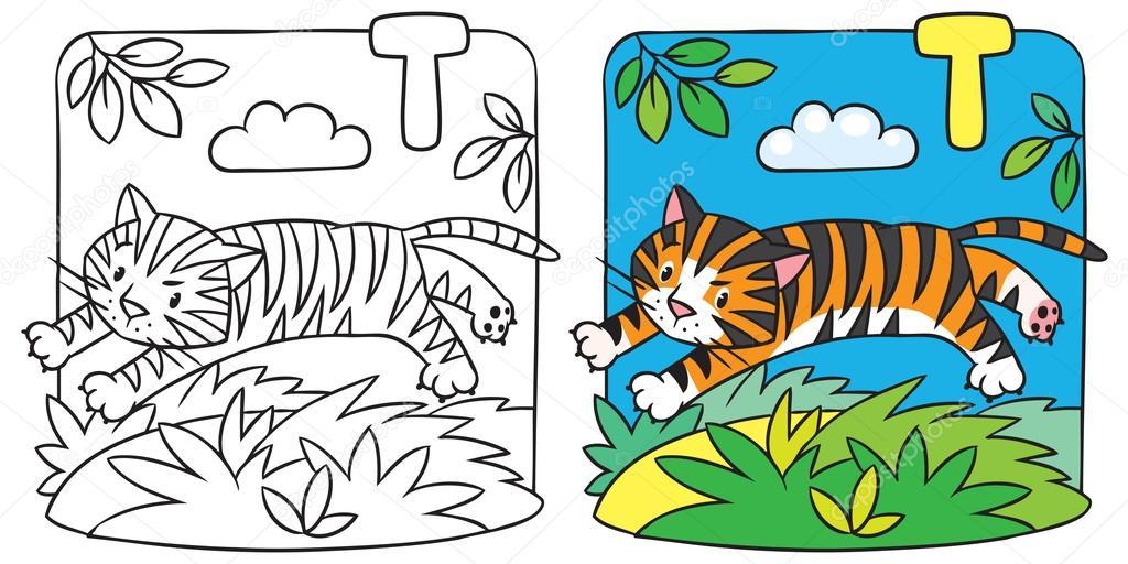Librito para colorear tigre. Alfabeto T — Vector de stock ...