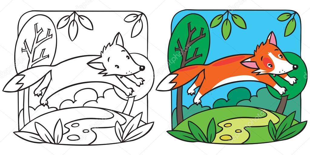 Petit livre de coloriage de renard roux image - Coloriage petit renard ...