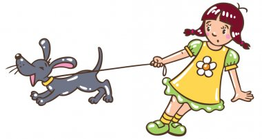 Girl with barking dog