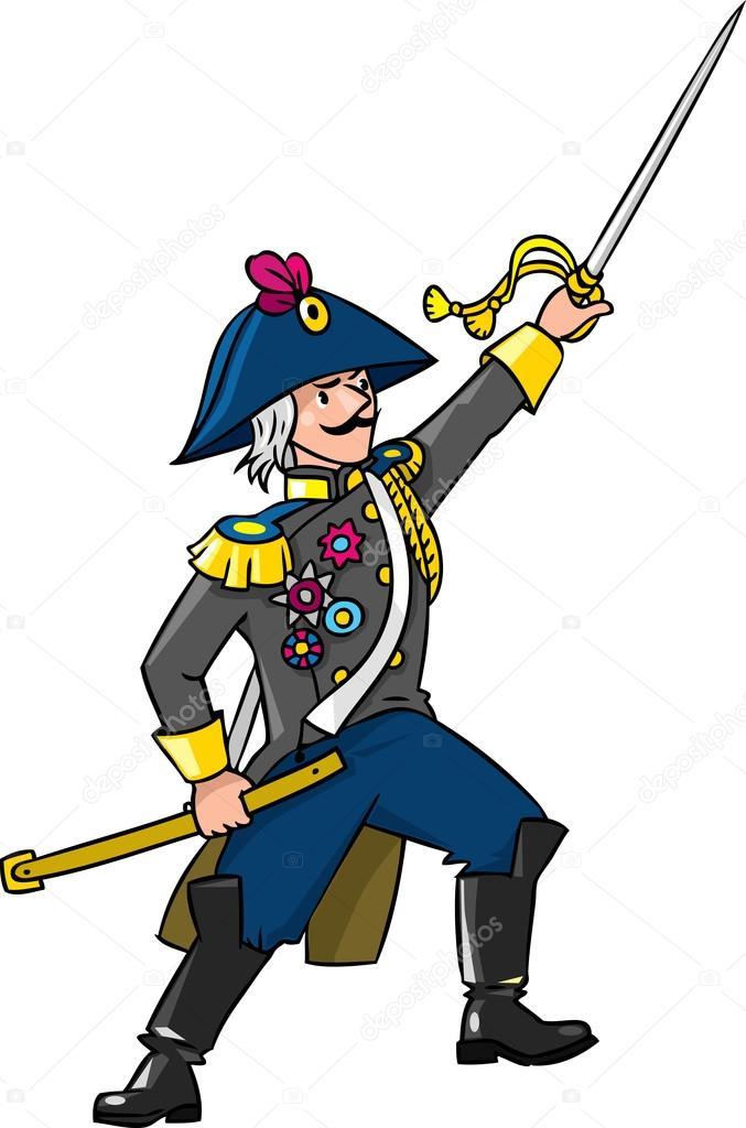 勇敢な将軍や剣を持つ将校 — ストックベクタ