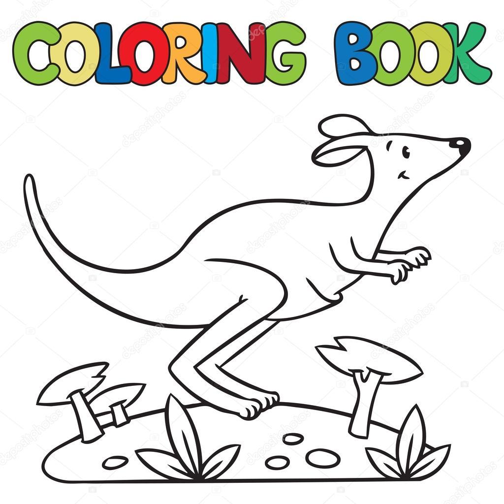 Küçük Kanguru Boyama Kitabı Stok Vektör Passengerz 60479227