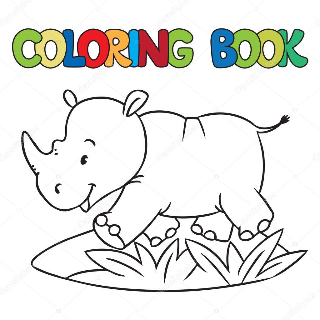 Libro para colorear de pequeños de la rhino — Vector de stock ...