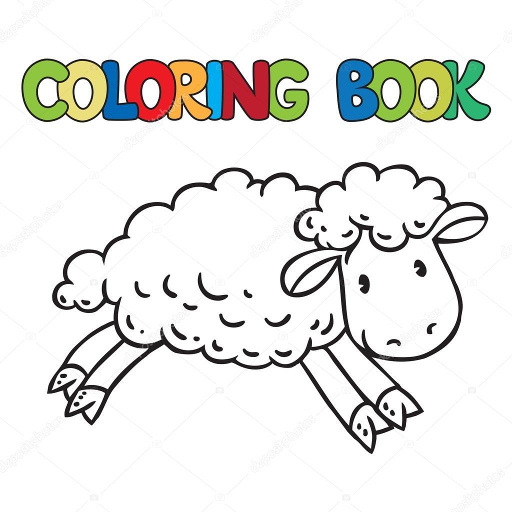 Libro de poco graciosos ovejas para colorear — Archivo Imágenes ...
