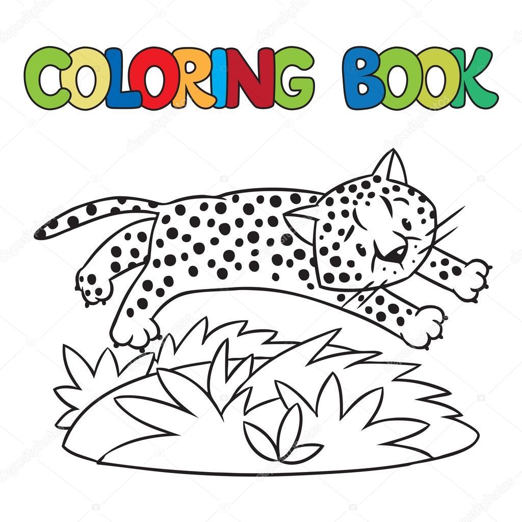 Libro de guepardo o jaguar para colorear — Vector de stock ...