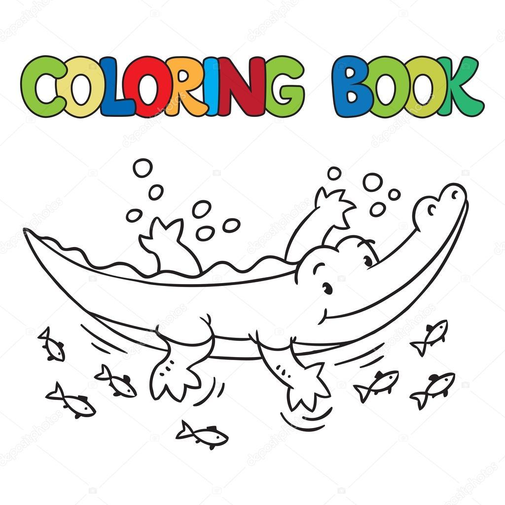 livro de colorir da pequena jacaré ou crocodilo vetores de stock