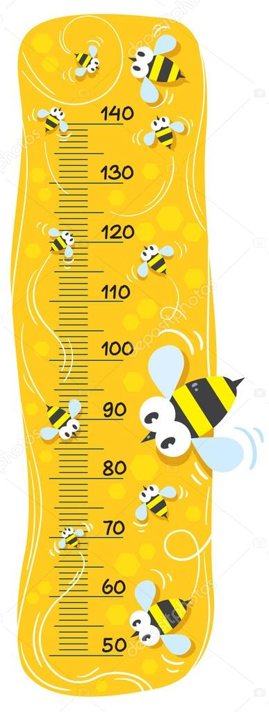 Meter wall or height meter with funny bees