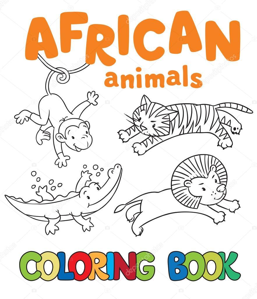 Coloriage Animaux Dafrique.Livre De Coloriage Avec Des Animaux D Afrique Image Vectorielle