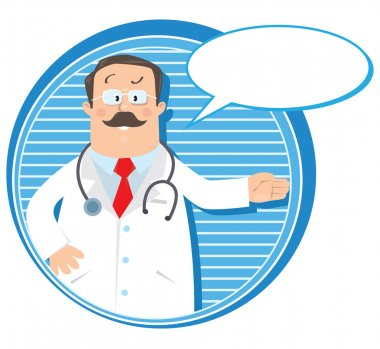 Design template or emblem with funny man doctor in white coat with stethoscope, showing by hand, on round background with lines and balloon for text stock vector