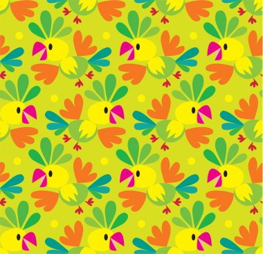 Seamless pattern with funny parrot
