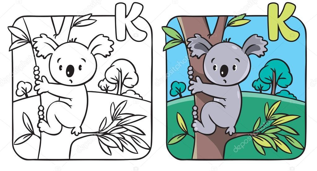 Komik Koala Ile Boyama Kitabı Alfabe K Stok Vektör Passengerz
