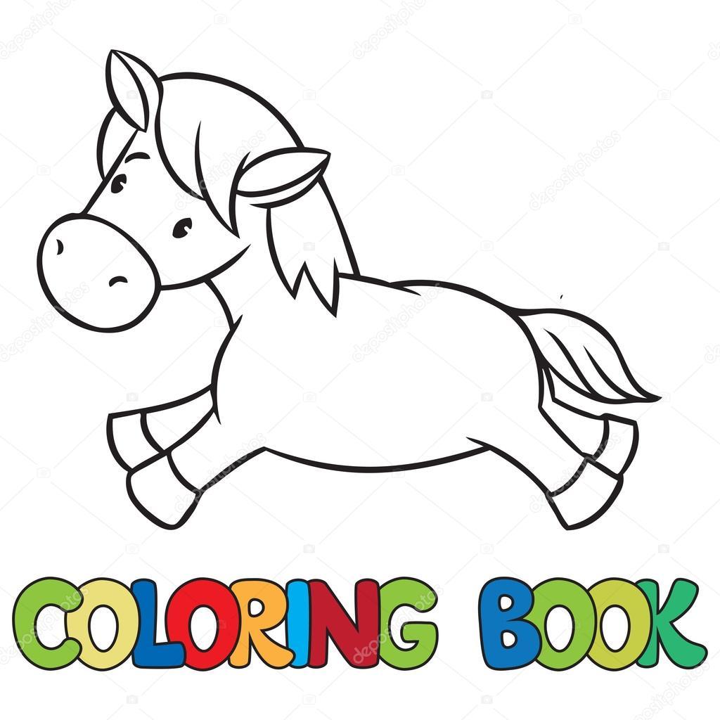 Küçük At Veya Pony Boyama Kitabı Stok Vektör Passengerz 71393845