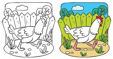 Funny  chicken coloring book.