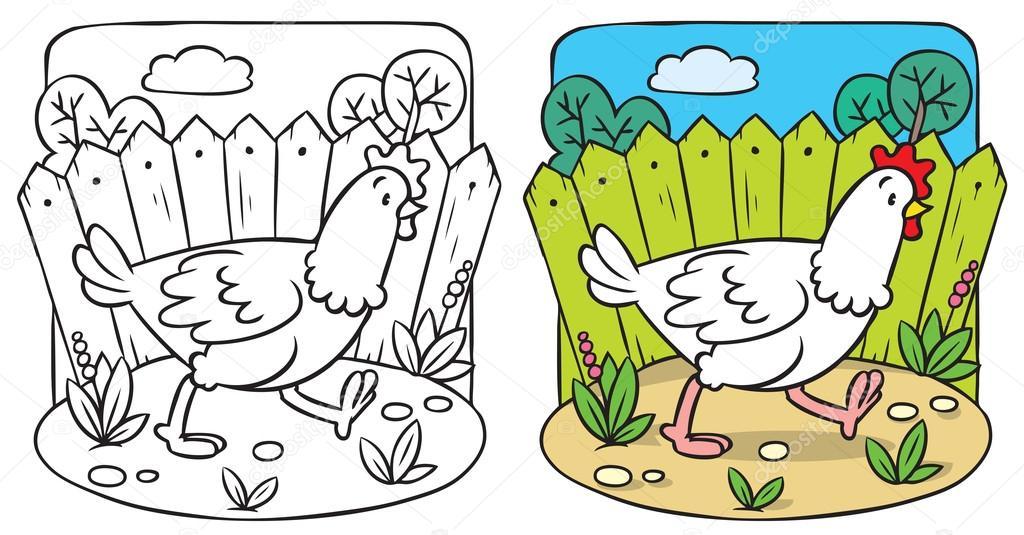 Libro de colorear divertido pollo — Vector de stock © passengerz ...