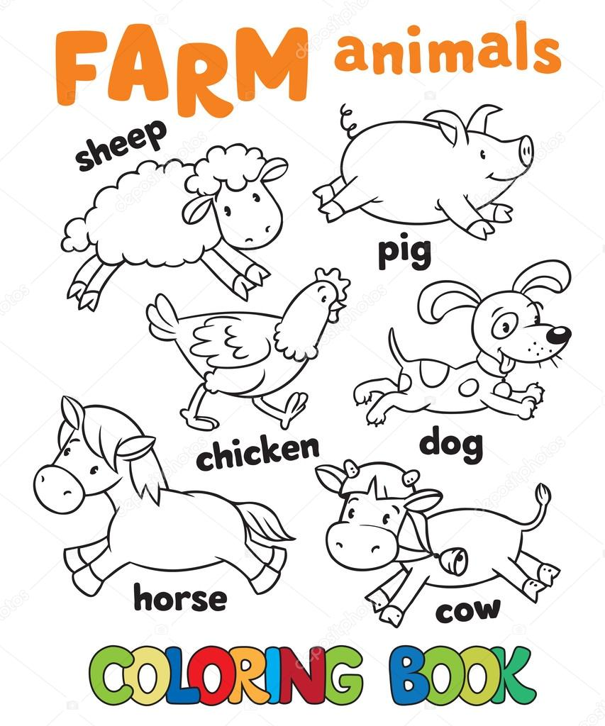 Coloring book with farm animals — Stock Vector © passengerz #71595821