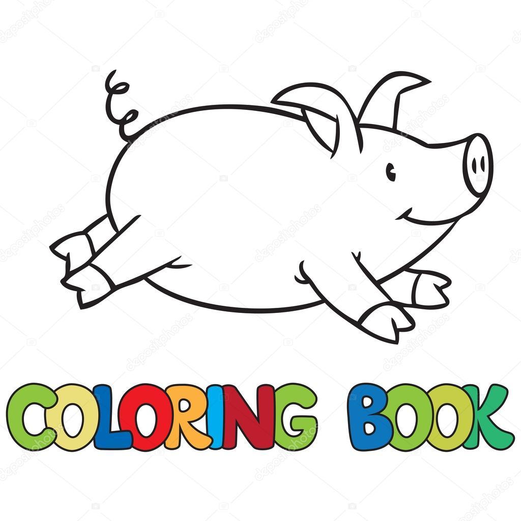 Pequeño libro para colorear de cerdo — Vector de stock © passengerz ...