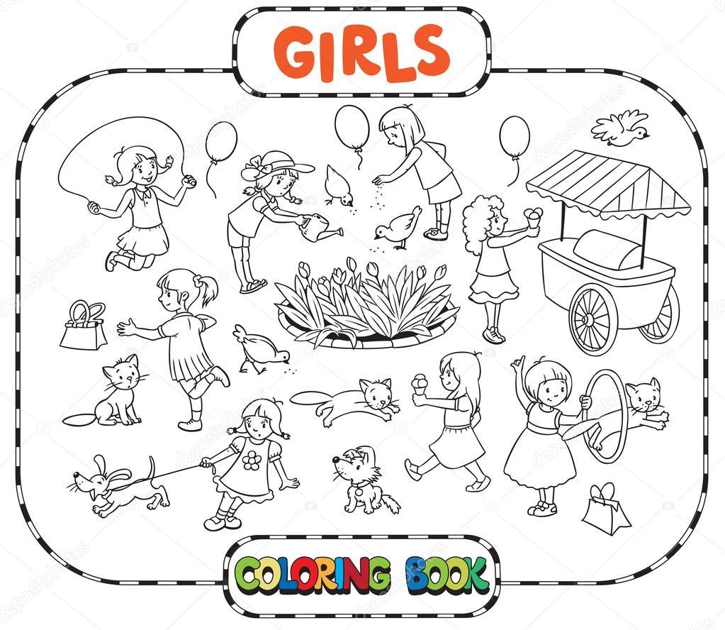 Kızlar Oynama Ile Büyük Boyama Kitabı Stok Vektör Passengerz