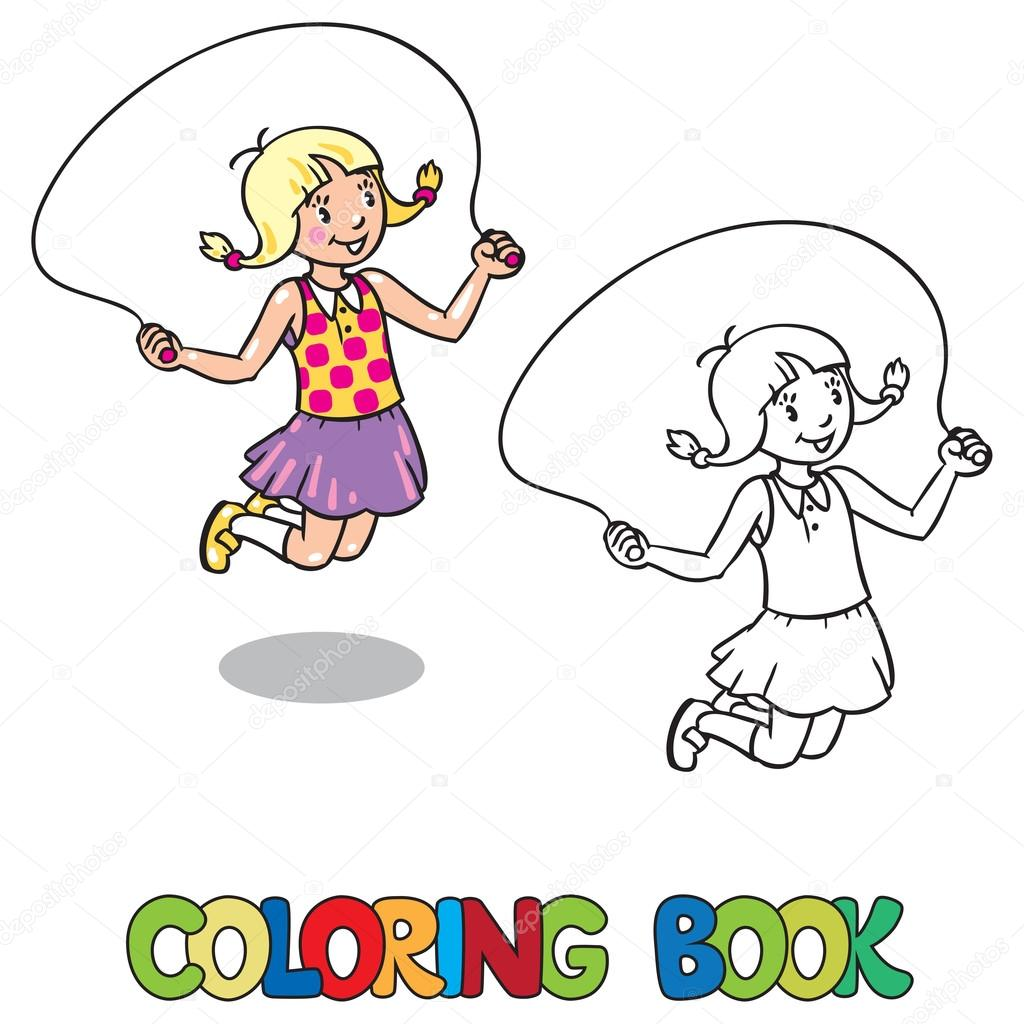 Girl Jumps With Rope Coloring Book Stock Vector C Passengerz