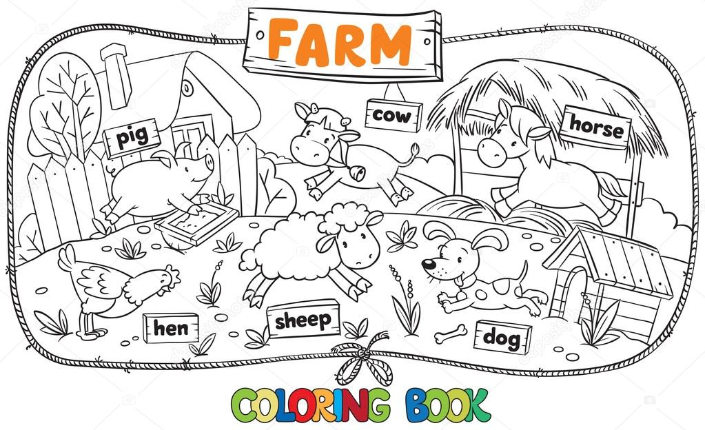 Great Coloring Book With Farm Animals Stock Vector 75328089