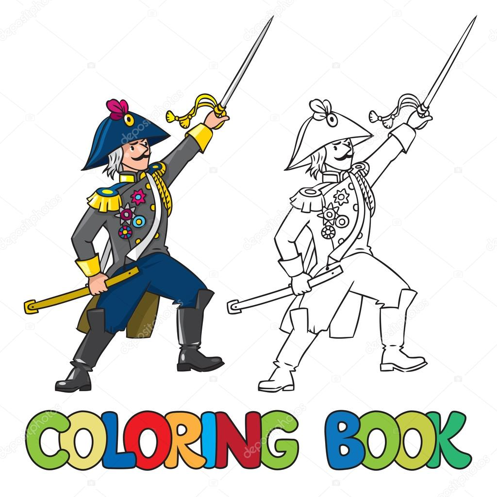 Valiente general o funcionario con la espada. Libro para colorear ...