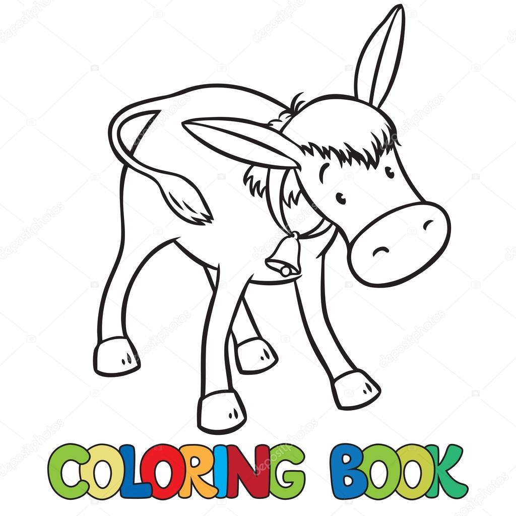 Komik Eşek Boyama Kitabı Stok Vektör Passengerz 80946764